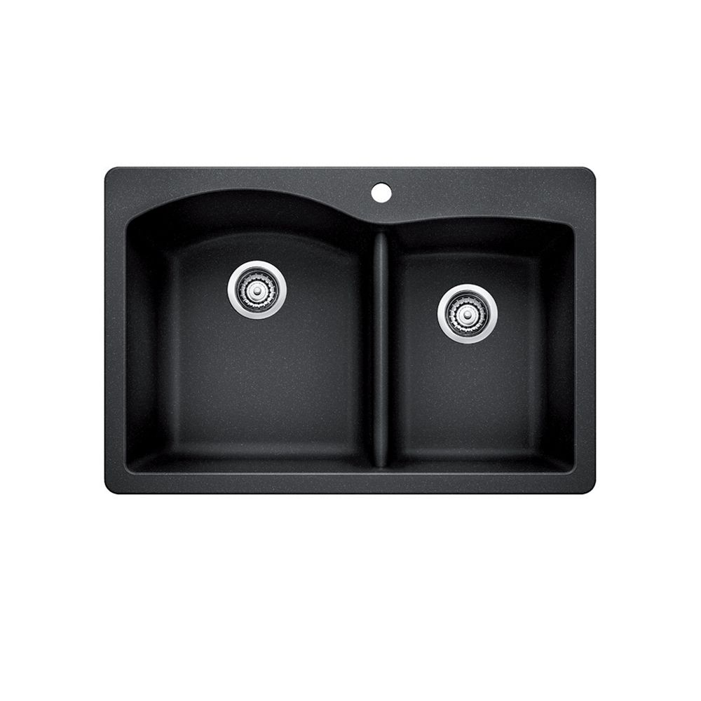 Silgranit Natural Granite, 1 3/4 Bowl Topmount Sink, Anthracite