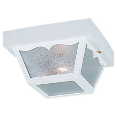 2-Light White Outdoor Ceiling Fixture