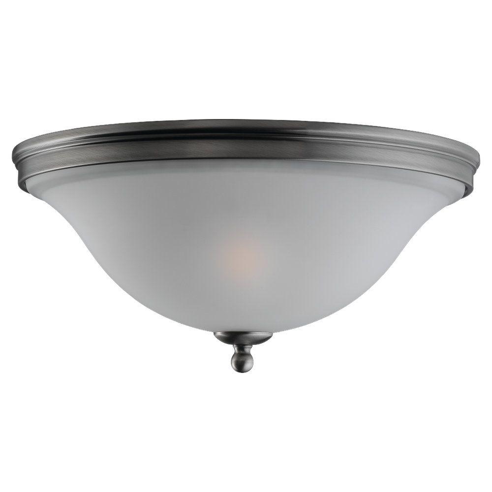 2-Light Antique Brushed Nickel Ceiling Fixture