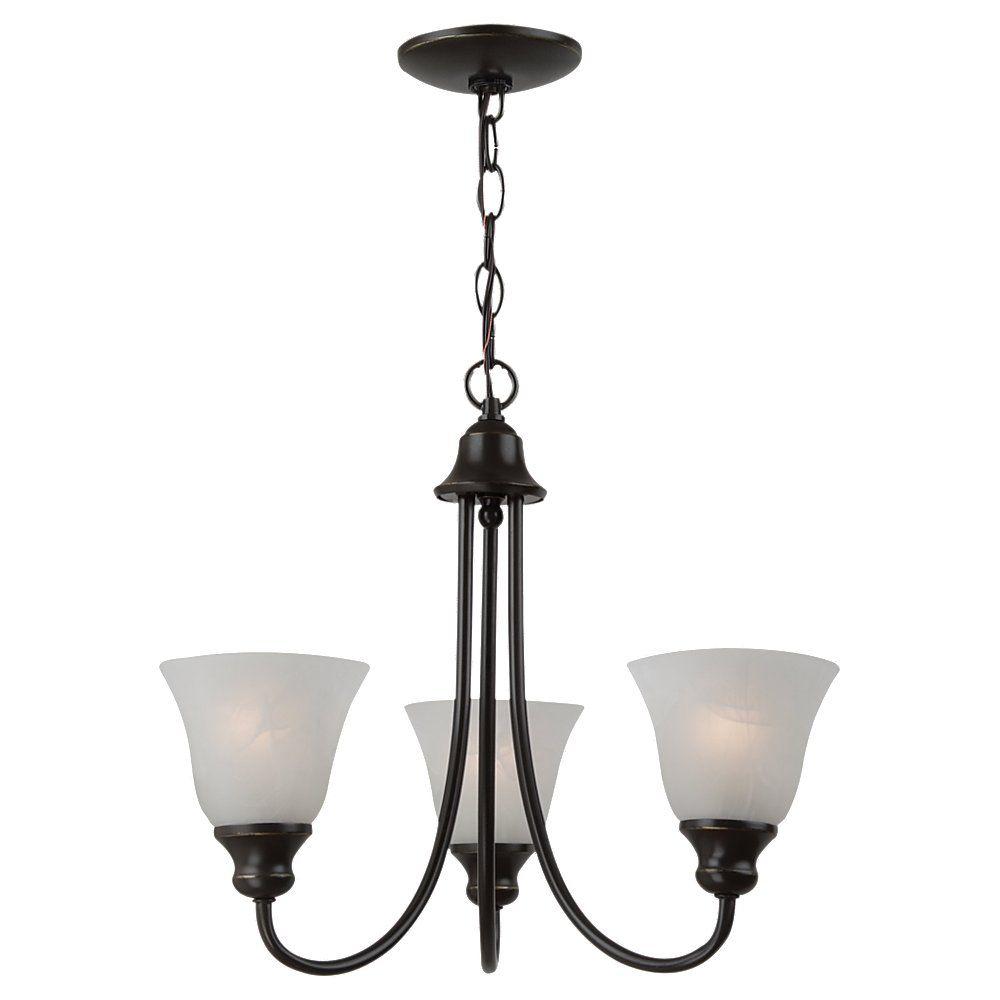 3 Light Heirloom Bronze Fluorescent Chandelier
