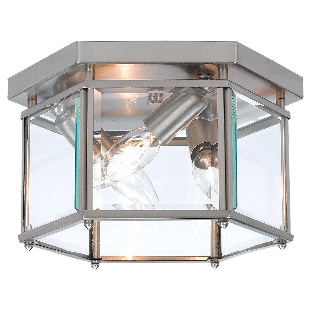 Home Depot Light Fixture: Sea Gull Lighting 3-Light Brushed Nickel Ceiling Fixture