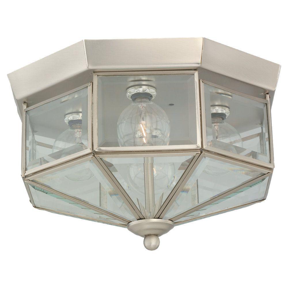 4 Light Brushed Nickel Fluorescent Ceiling Fixture