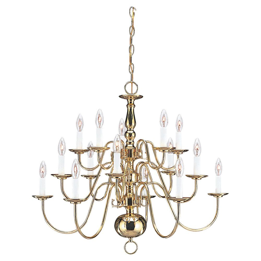 15-Light Polished Brass Chandelier
