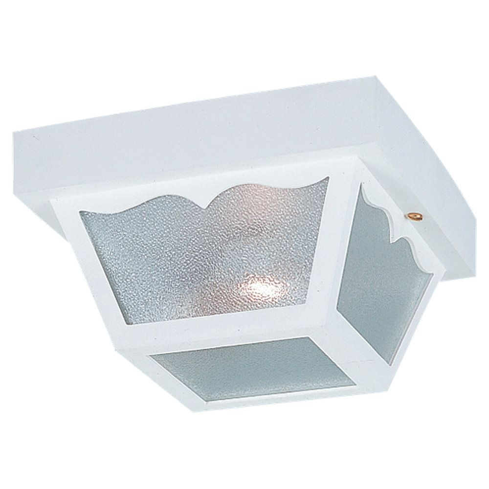 1-Light White Outdoor Ceiling Fixture