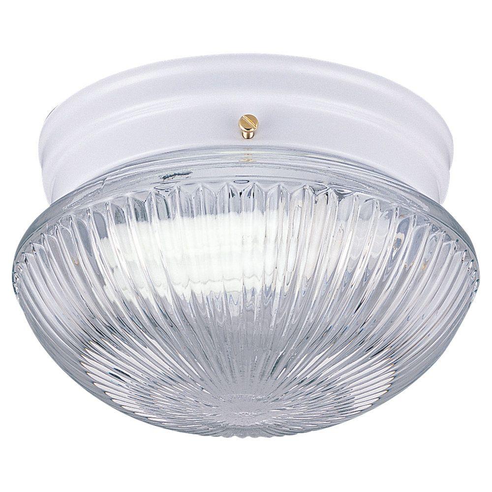 Plafonnier Seagull à une ampoule avec abat-jour clair, Fini blanc
