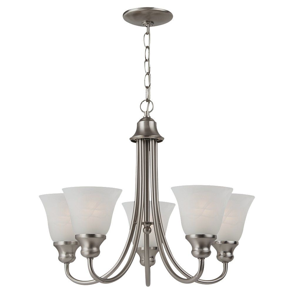 5 Light Brushed Nickel Incandescent Chandelier