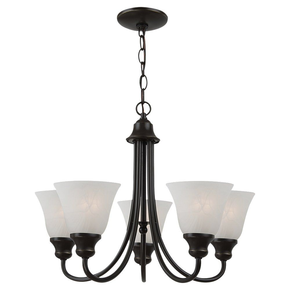 5 Light Heirloom Bronze Fluorescent Chandelier