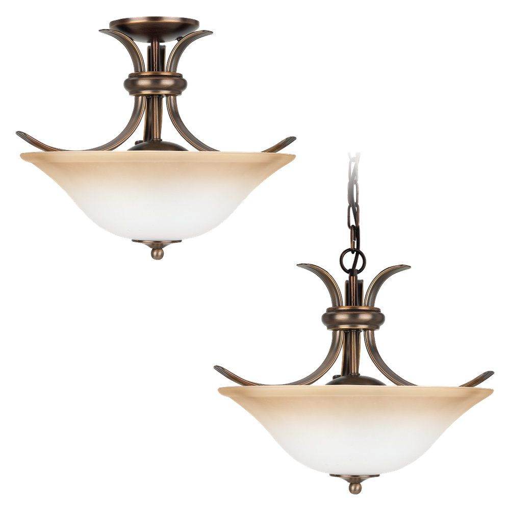 Plafonnier Seagull à deux ampoules avec abat-jour de spécialité, Fini bronze