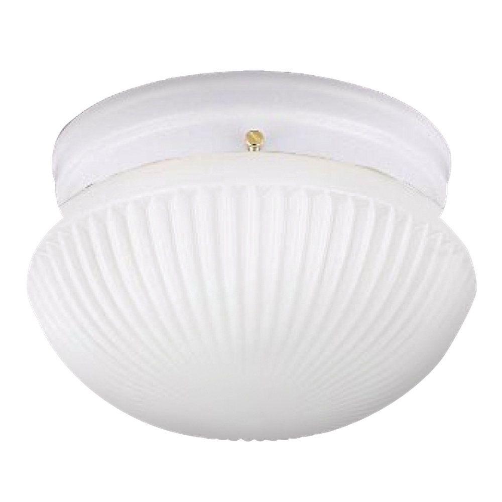 Plafonnier Seagull à une ampoule avec abat-jour blanc, Fini blanc