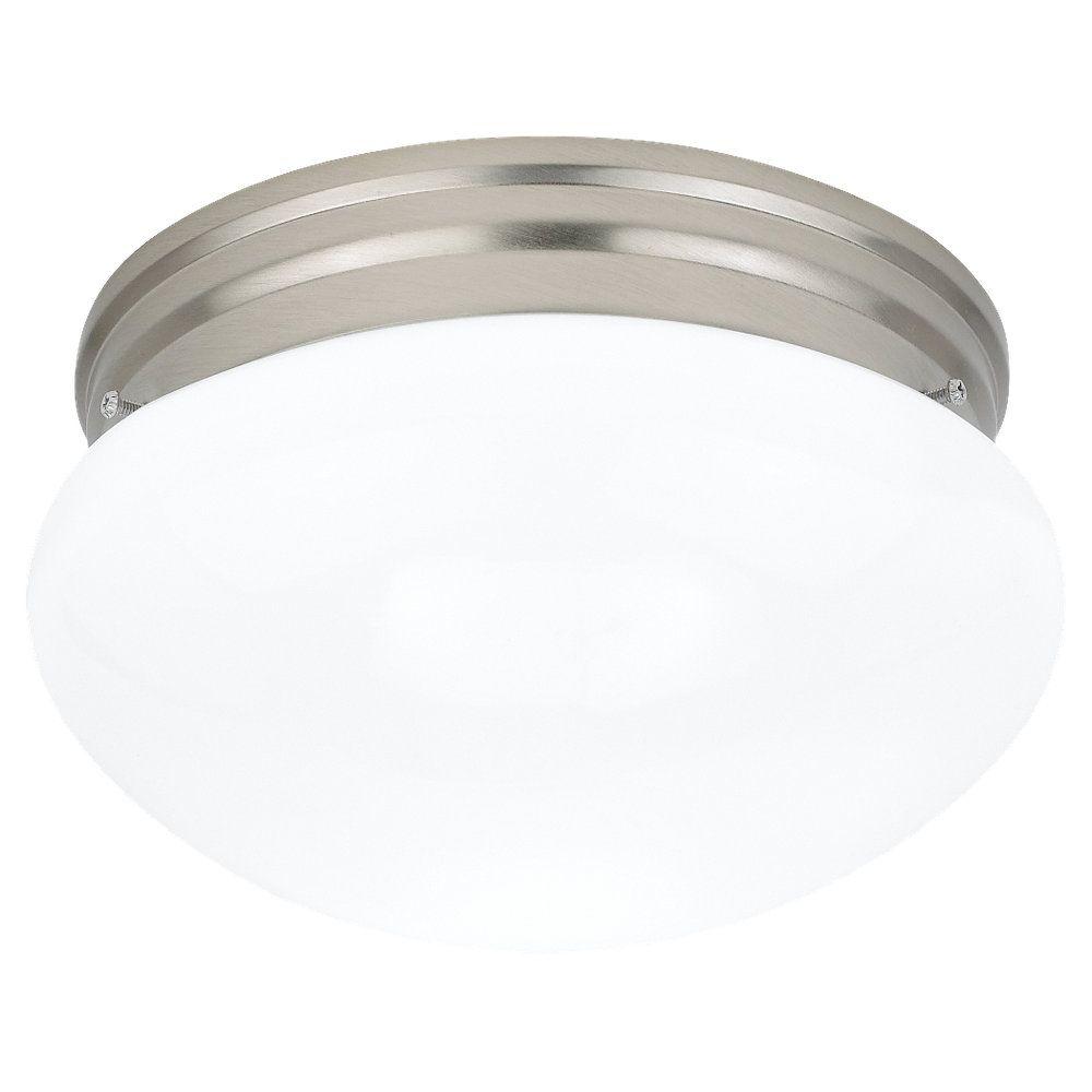 2 Light Brushed Nickel Incandescent Ceiling Fixture