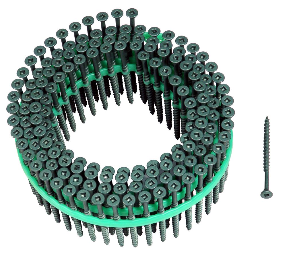 Muro Auto Feed #8 x 2-1/2 in. Green Shieldguard Coated Flat-Head Square Drive Deck Screws (1,800/...