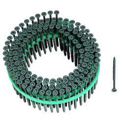 Muro Alimentation automatique 8 x 2 pouces Vis de pont à tête carrée à tête carrée et à revêtement Green Shieldguard (paquet de 1,800)
