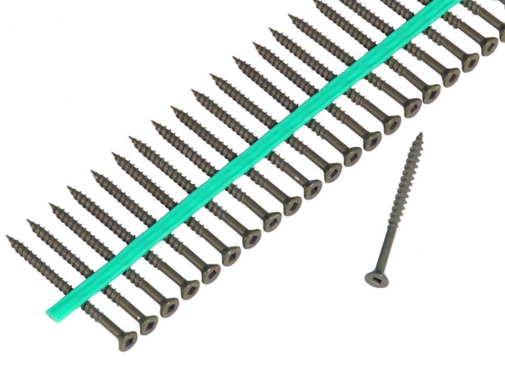 Muro Auto Feed #8 x 2 in. Green Shieldguard Coated Flat-Head Square Drive Deck Screws (1800/Pack)