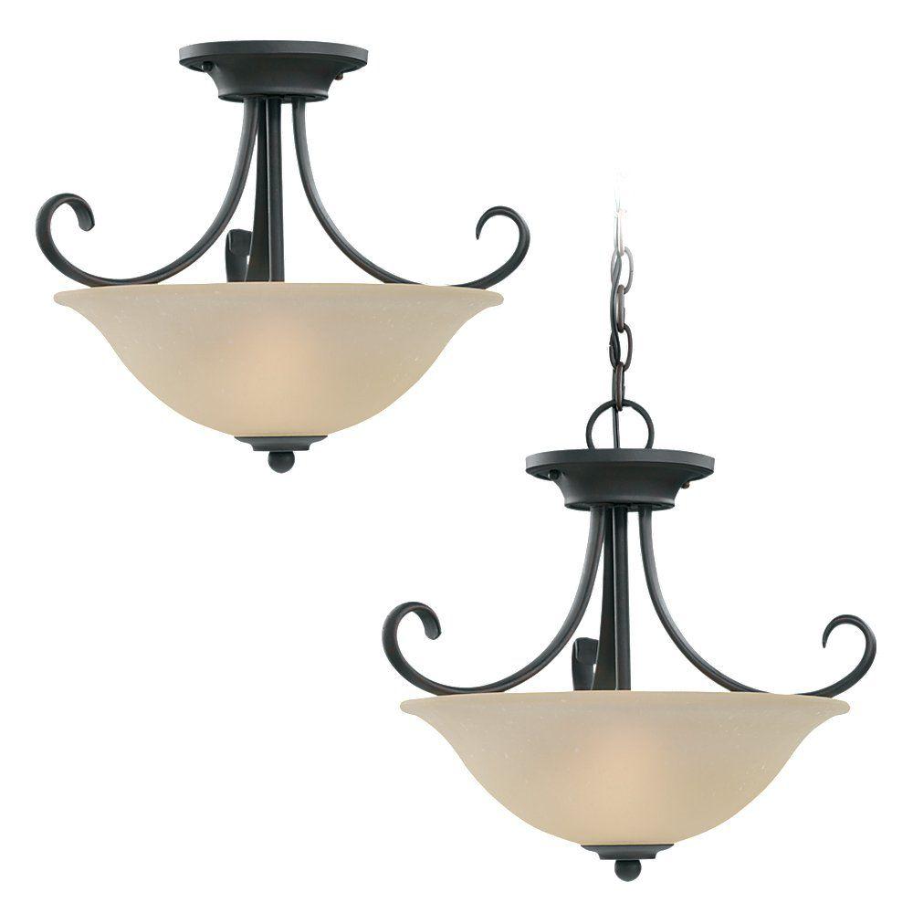 2-Light Chestnut Bronze Ceiling Fixture