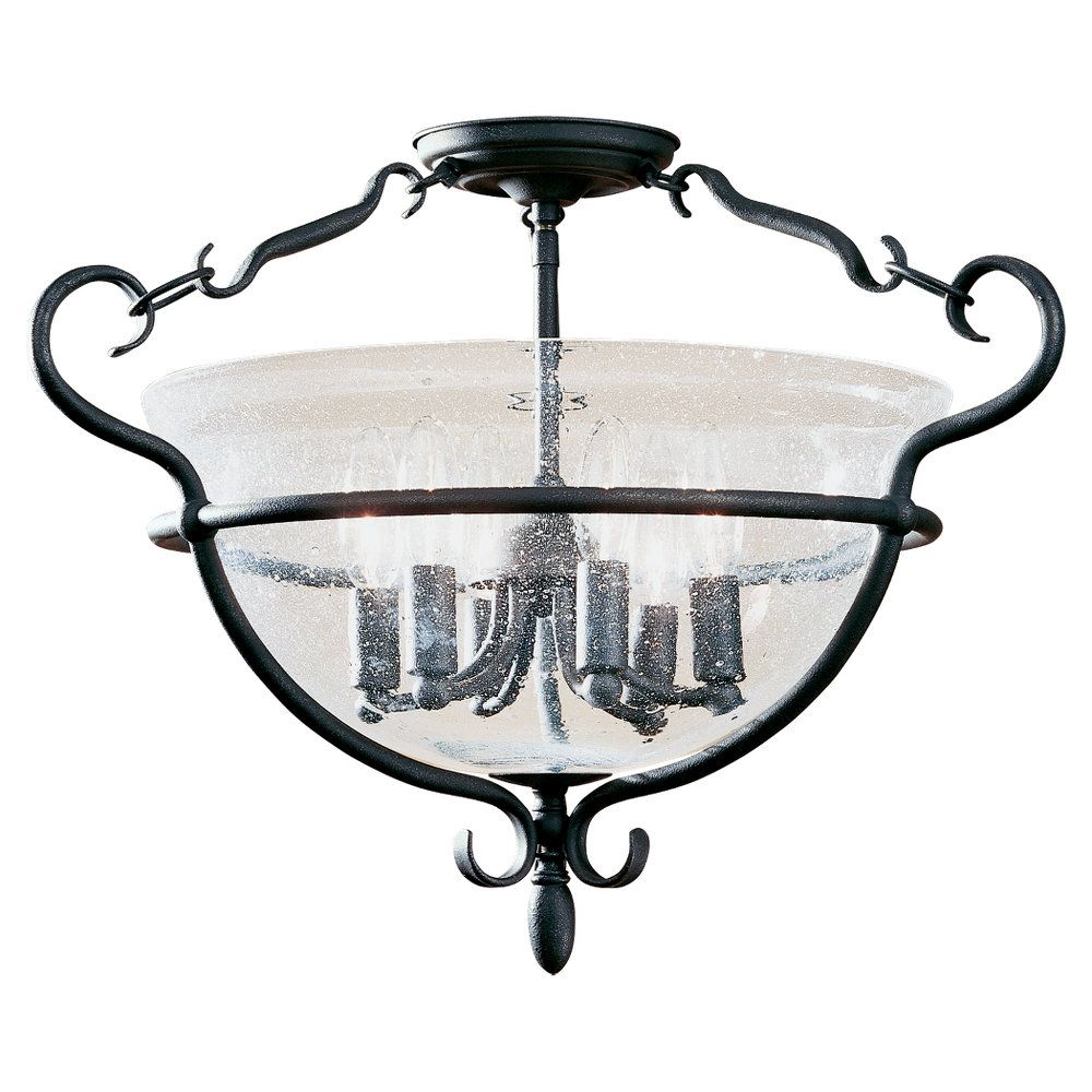 6 Light Weathered Iron Incandescent Ceiling Fixture
