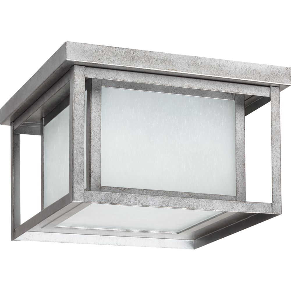 2 Light Weathered Pewter Fluorescent Outdoor Flush Mount