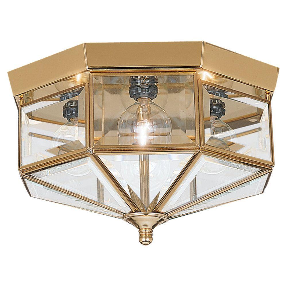 4 Light Polished Brass Incandescent Ceiling Fixture