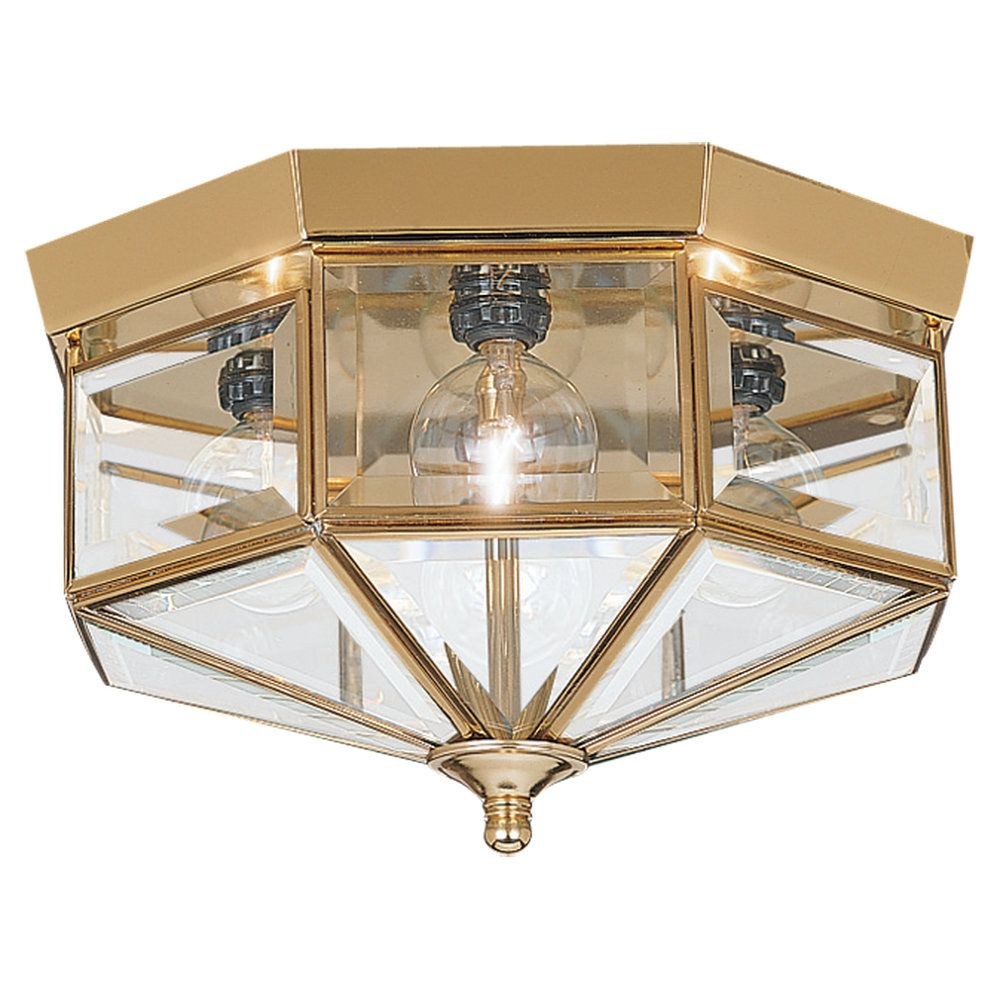 4-Light Polished Brass Ceiling Fixture