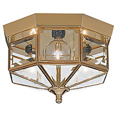 3-Light Polished Brass Ceiling Fixture