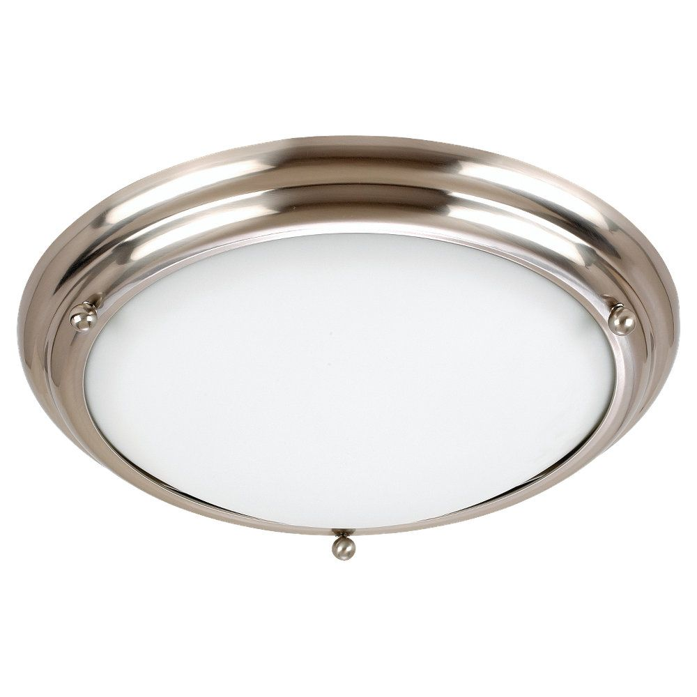 3 Light Brushed Stainless Incandescent Ceiling Fixture