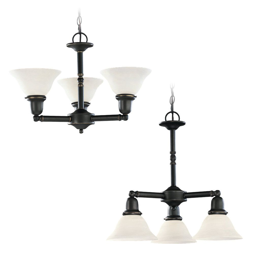 3 lumières Heirloom Bronze Lustre Fluorescent