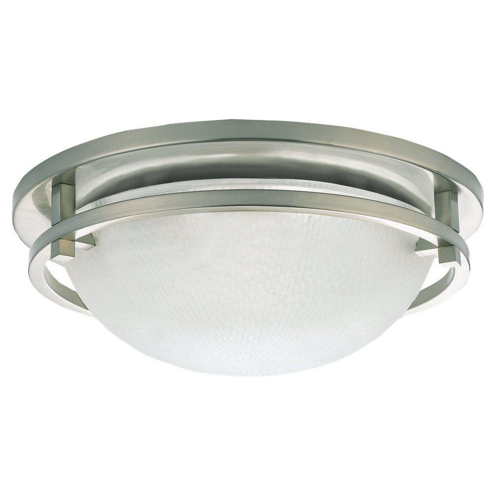 2-Light Brushed Nickel Ceiling Fixture