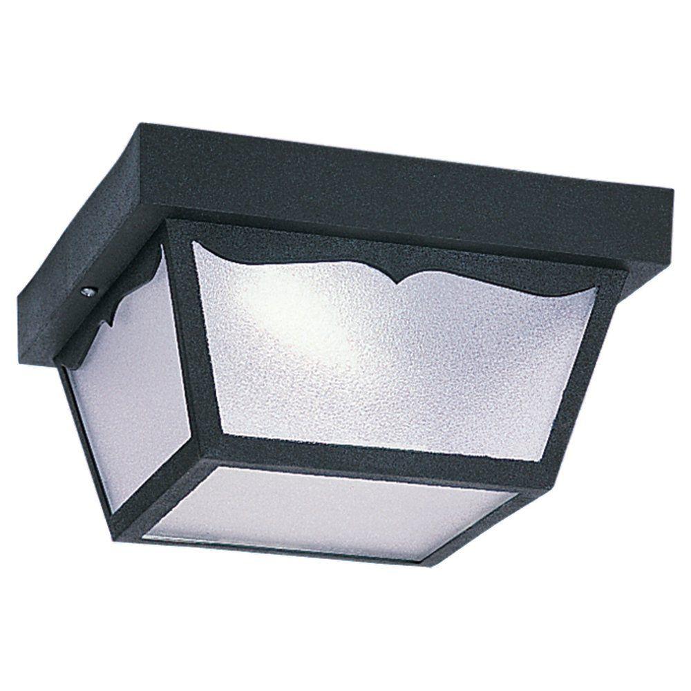2 Light Black Fluorescent Ceiling Fixture
