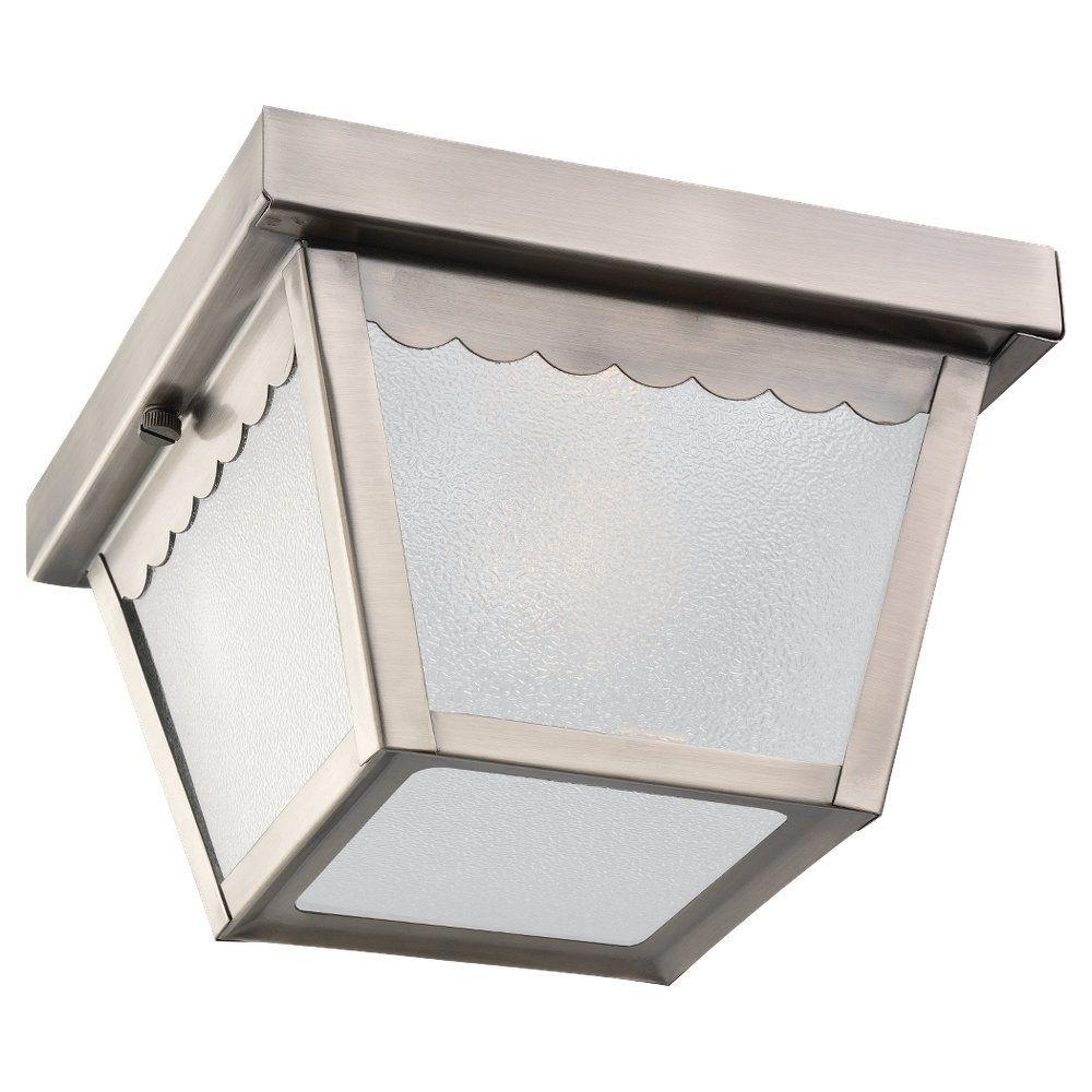 1 Light Antique Brushed Nickel Incandescent Outdoor Ceiling Fixture