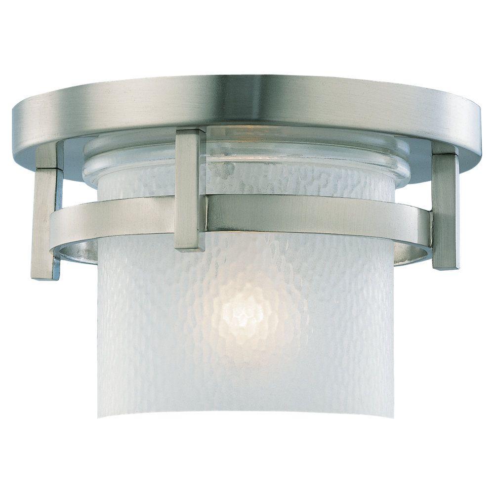 1-Light Brushed Nickel Outdoor Ceiling Fixture