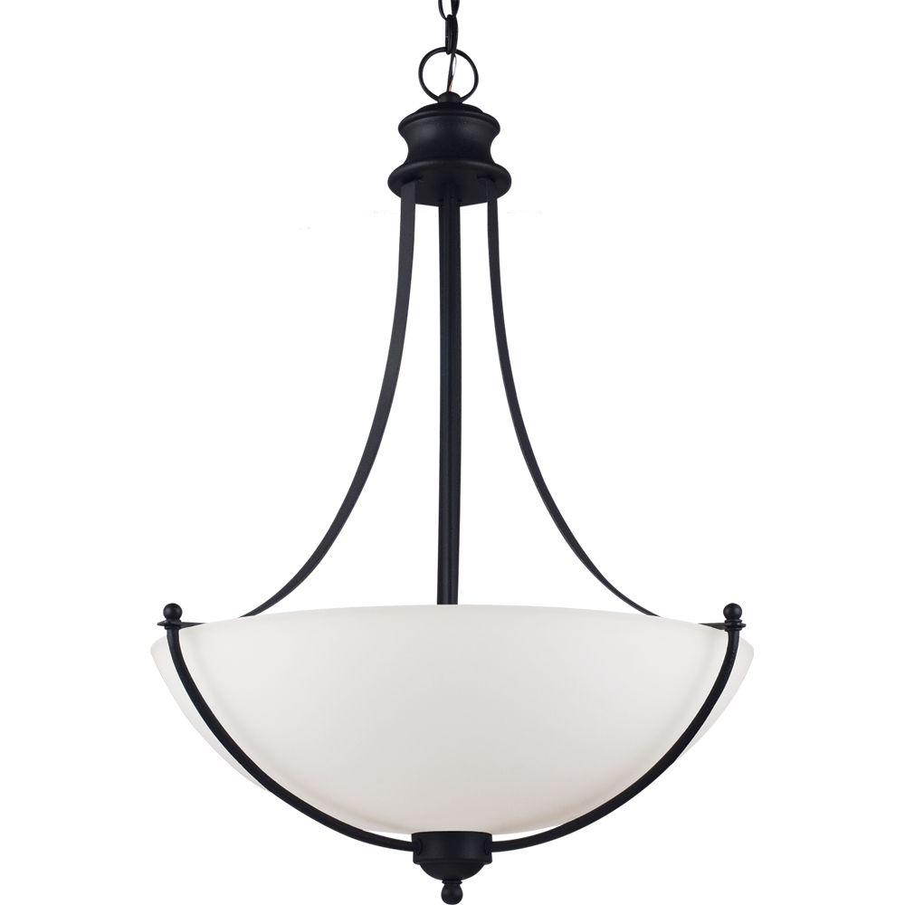 Lustre Seagull à trois ampoules avec abat-jour de spécialité, Fini noir