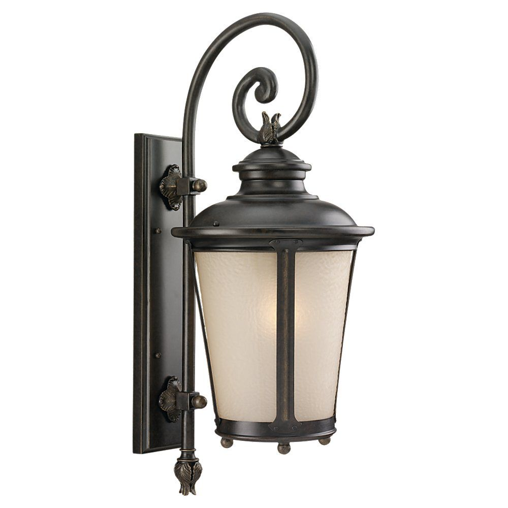 1 Light Burled Iron Fluorescent Outdoor Wall Lantern