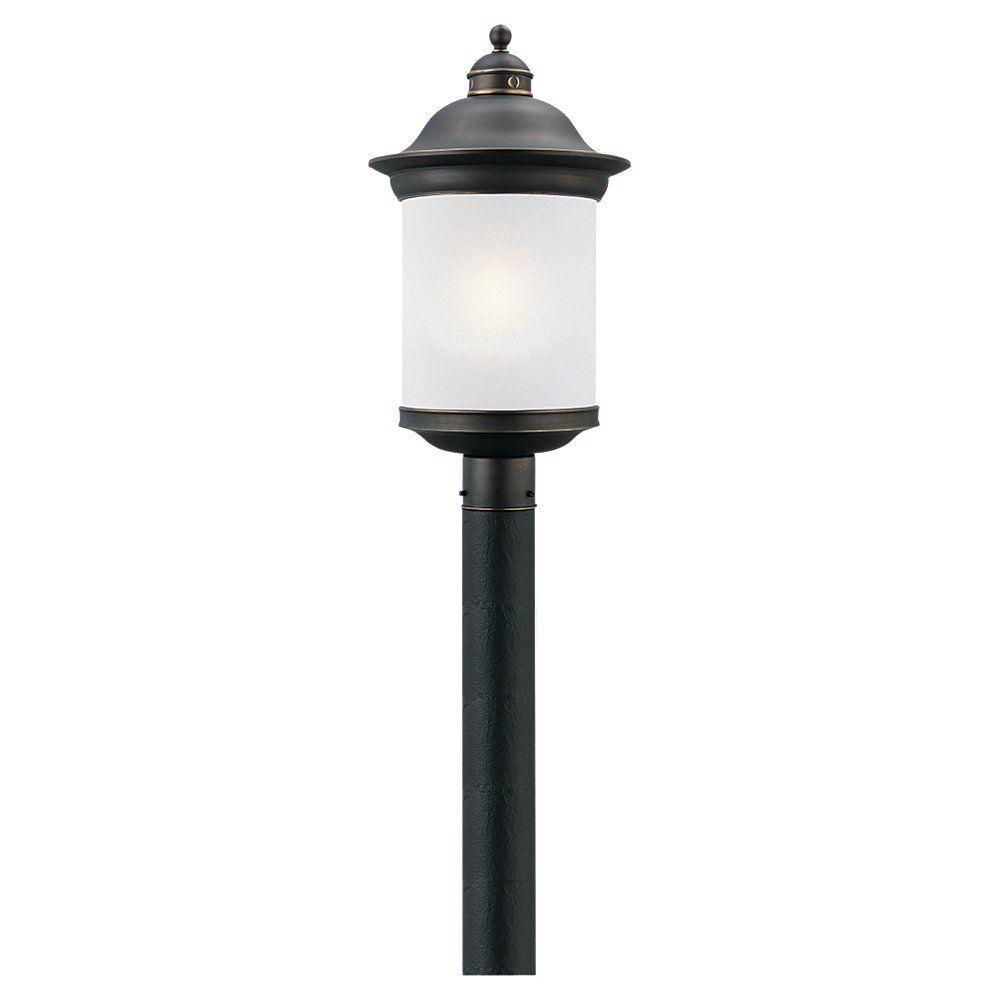 1 Light Antique Bronze Fluorescent Outdoor Post Lantern