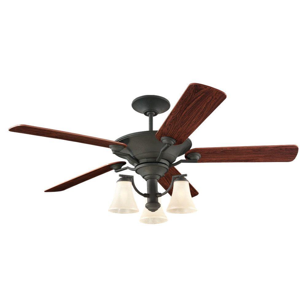 Ventillateur de plafond Seagull à trois ampoules avec abat-jour de spécialité, Fini noir