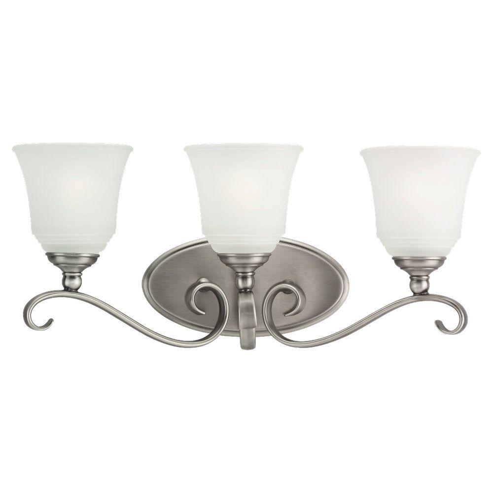3-Light Antique Brushed Nickel Bathroom Vanity