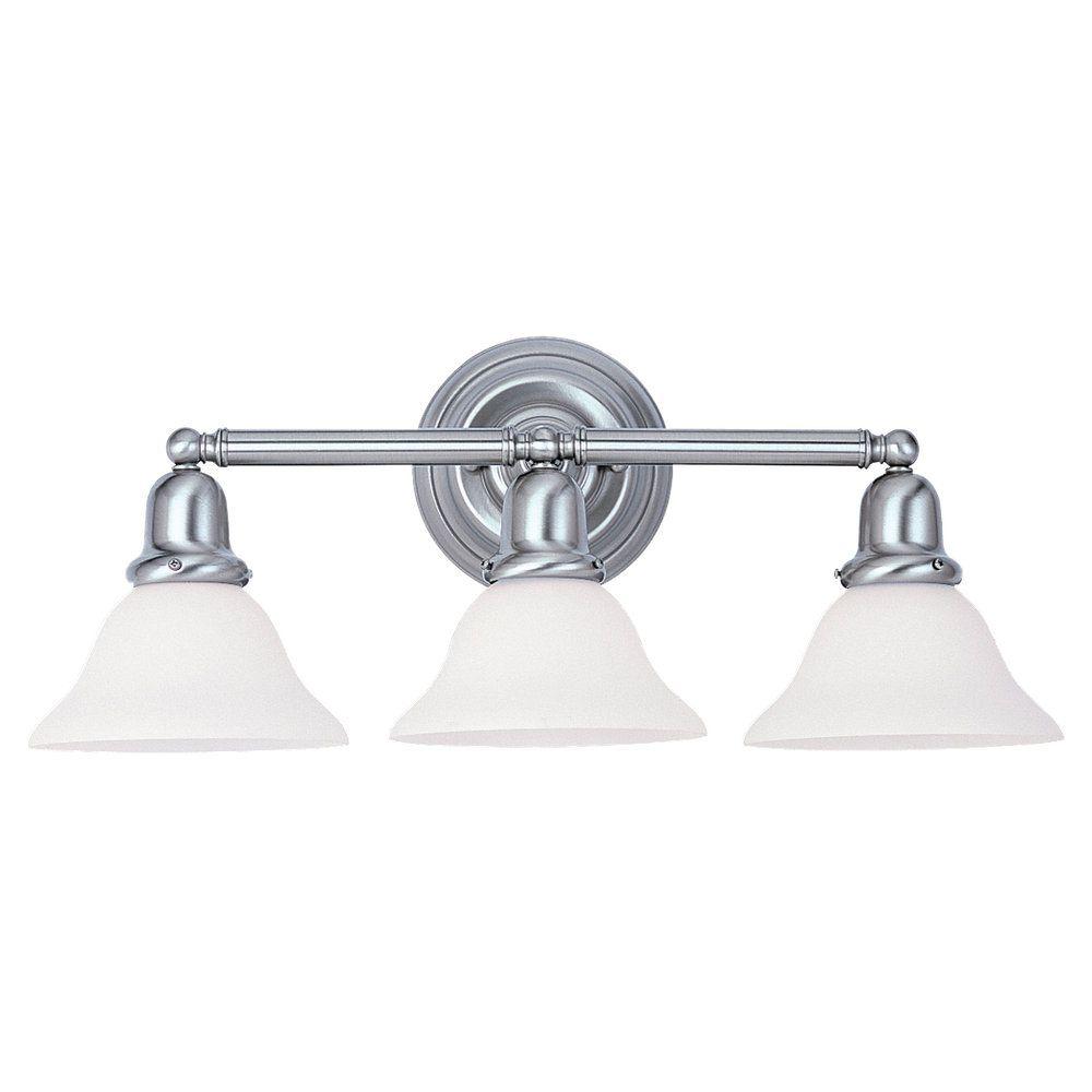 3 Light Brushed Nickel Fluorescent Bathroom Vanity