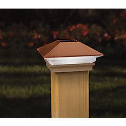Veranda Capuchon de poteau à éclairage solaire à DEL, 4 po x 4 po, cuivre