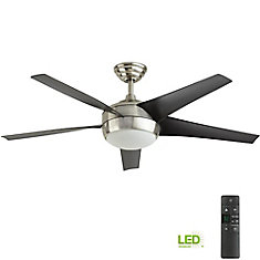 Windward IV 52-inch 5-Blade Brushed Nickel Indoor Ceiling Fan with Light Kit and Remote Control