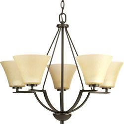 Progress Lighting Lustre à 5 Lumières, Collection Bravo - fini Bronze à l'Ancienne