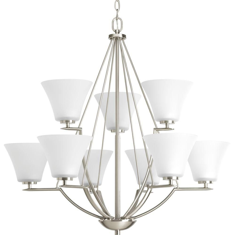 Progress Lighting Bravo Collection Brushed Nickel 9-light Chandelier
