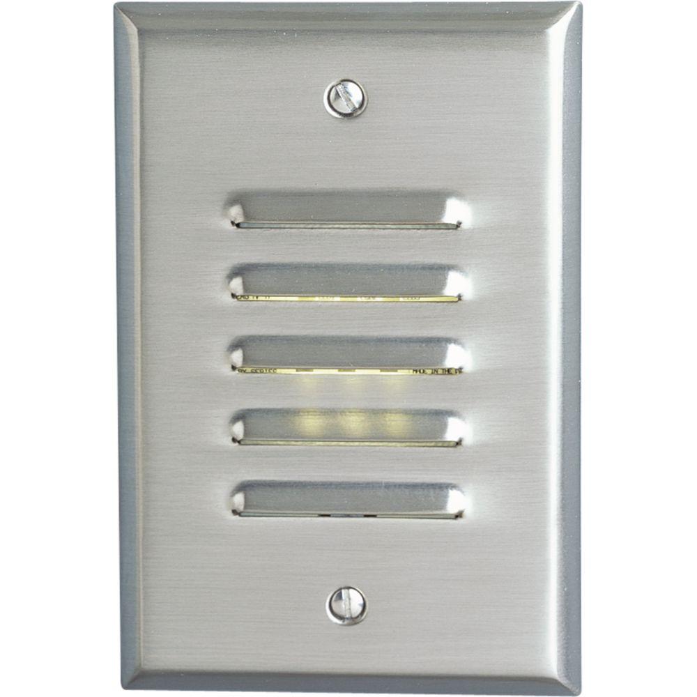 Lampe DEL de marche descalier à paralume vertical - fini Nickel Brossé