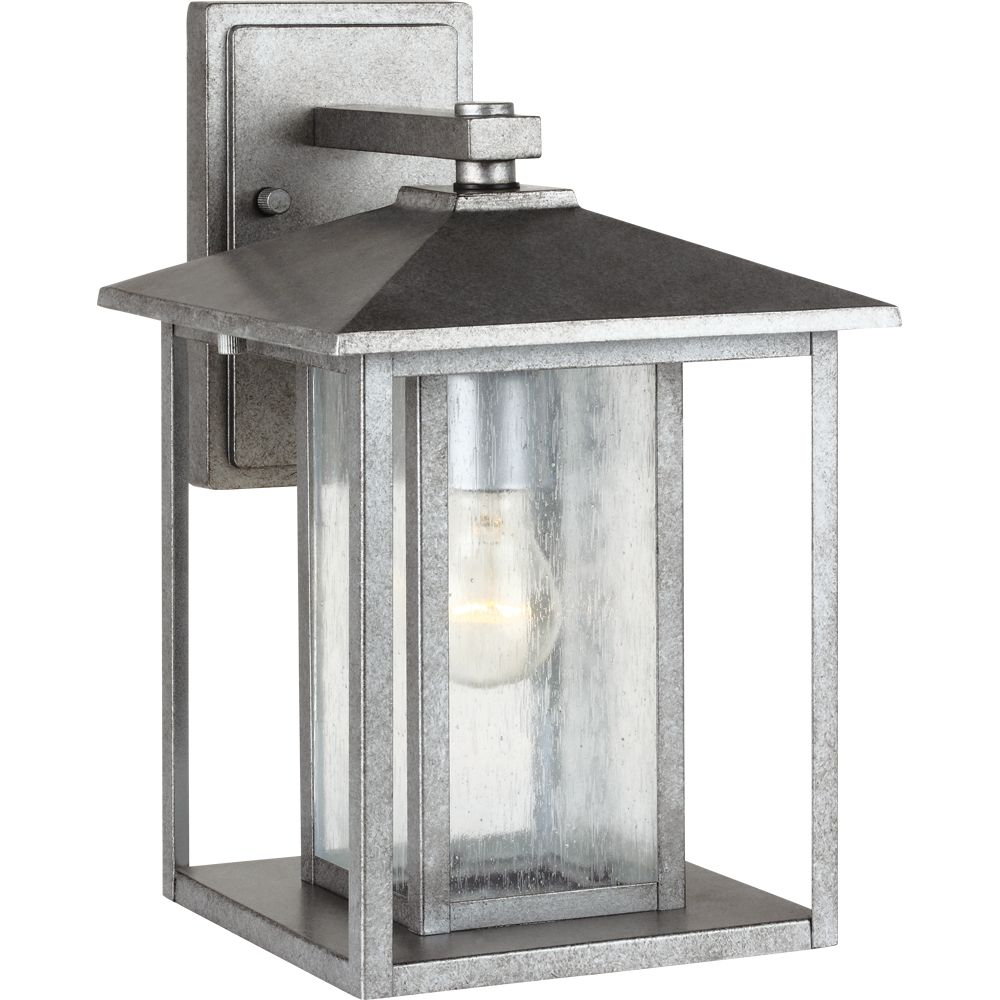 1 Light Weathered Pewter Incandescent Outdoor Wall Lantern