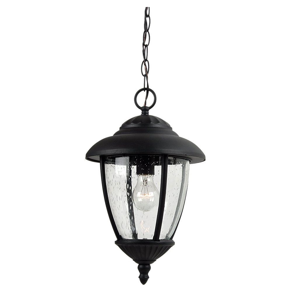Sea Gull Lighting 1-Light Black Outdoor Pendant