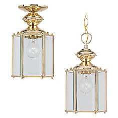 1-Light Polished Brass Outdoor Pendant