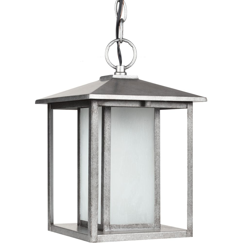 1 Light Weathered Pewter Fluorescent Outdoor Pendant