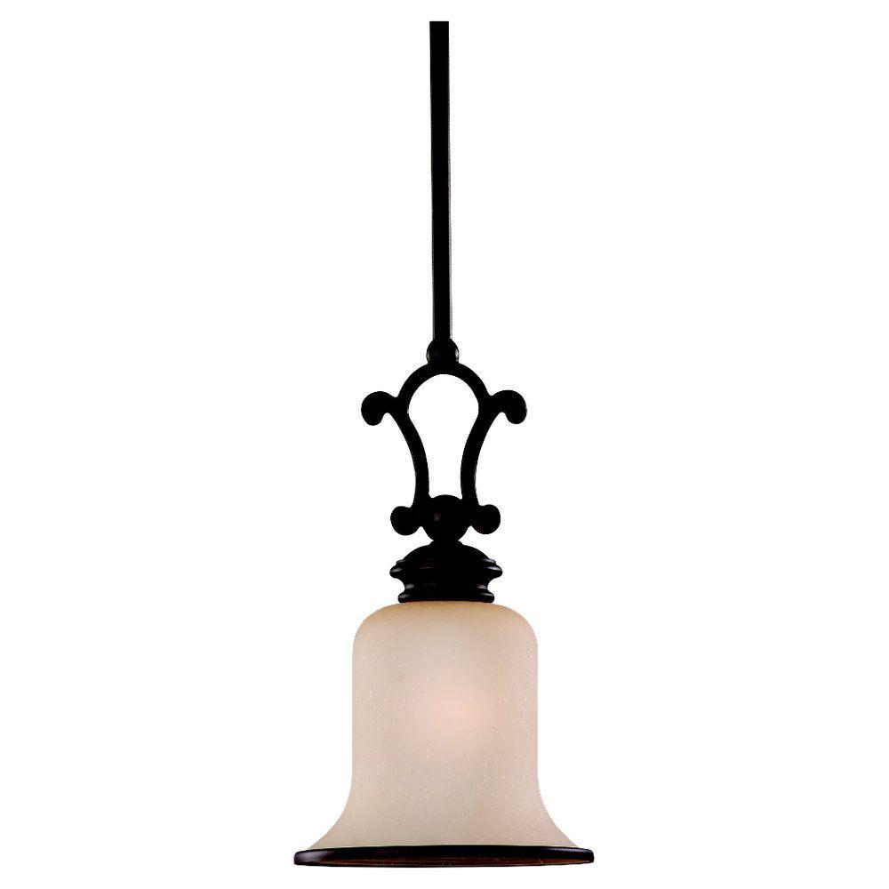 1 Light Misted Bronze Fluorescent Pendant