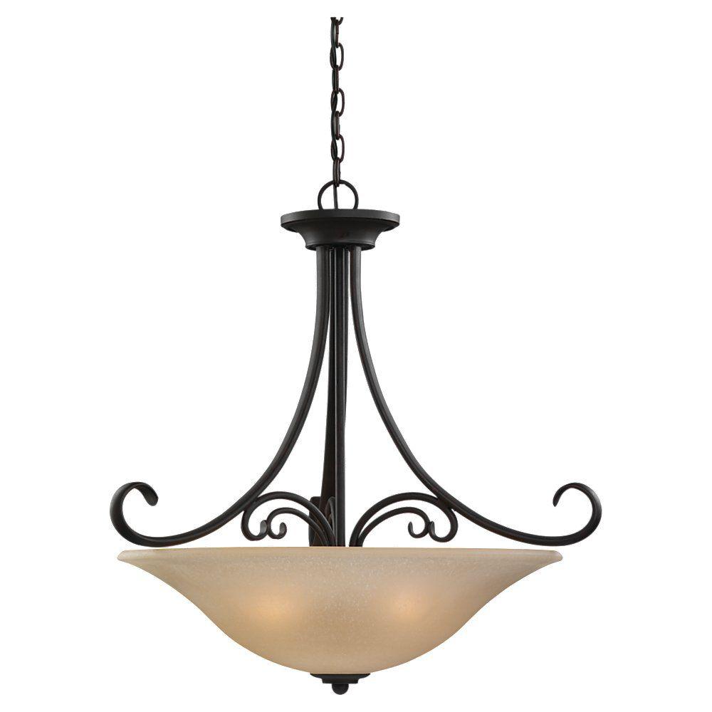 Lustre Seagull à quatre ampoules avec abat-jour de spécialité, Fini bronze