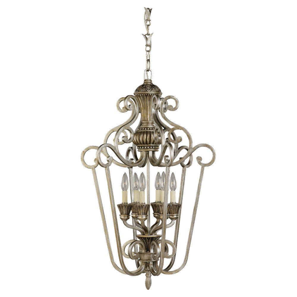 6 Light Palladium Incandescent Foyer Pendant