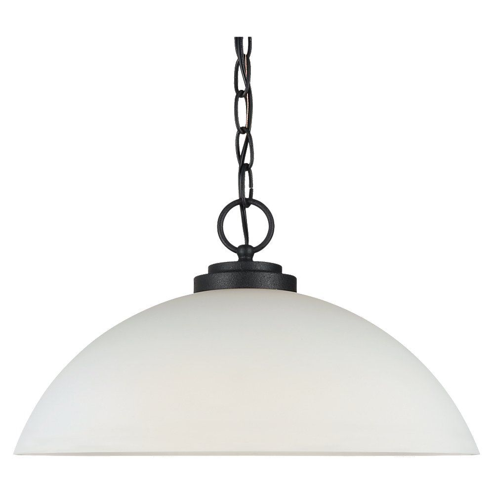 Lustre Seagull à une ampoule avec abat-jour de spécialité, Fini noir