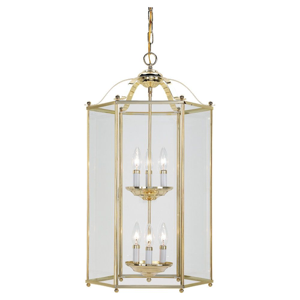6 Light Laiton Pendentif Foyer Incandescent Poli