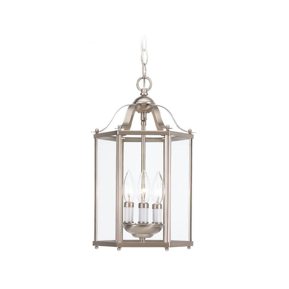 Foyer Chandelier Home Depot : Sea gull lighting light brushed nickel foyer pendant